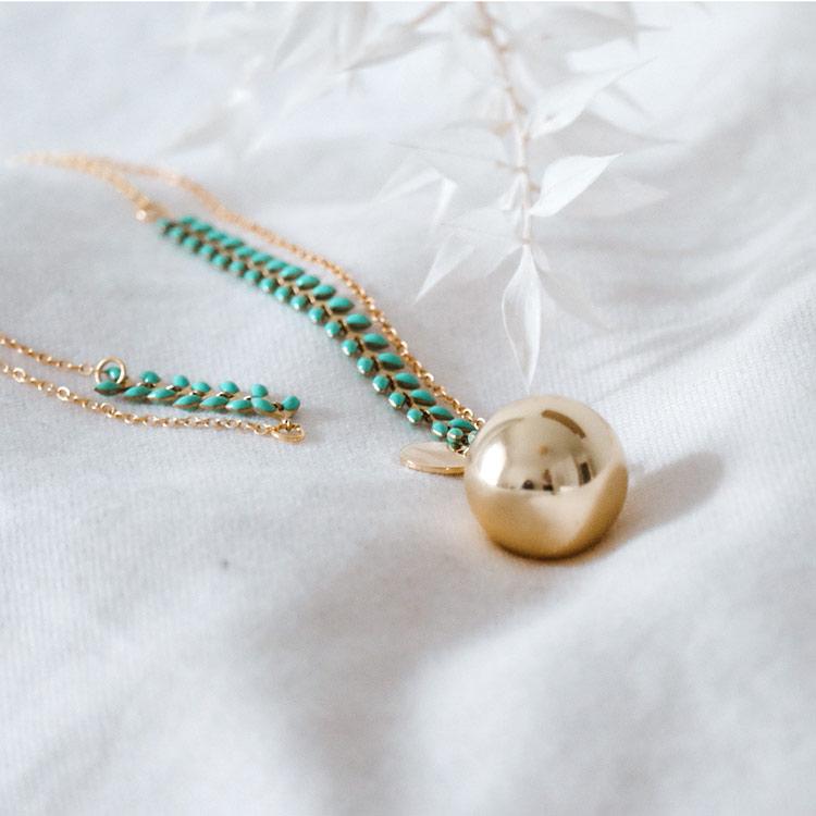 Sautoir Epi turquoise