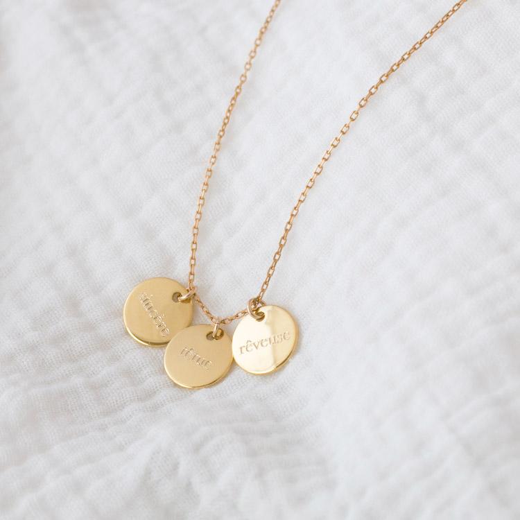 Collier 3 médailles personnalisées