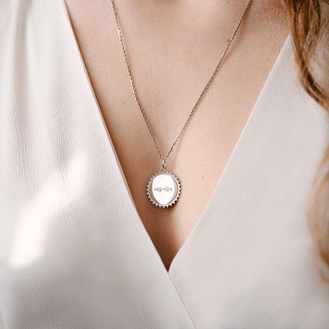 Collier médaille Maman Argent 925