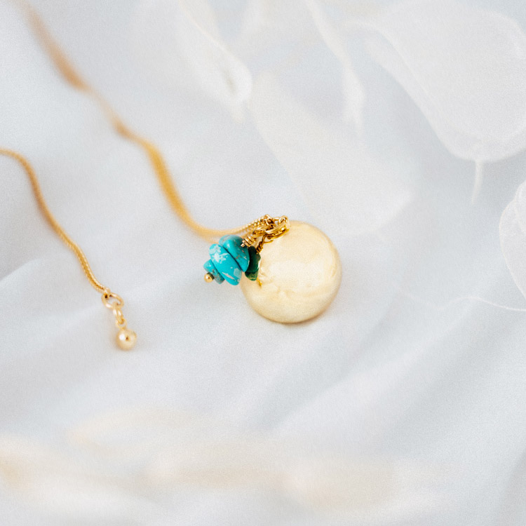 bola de grossesse or turquoise