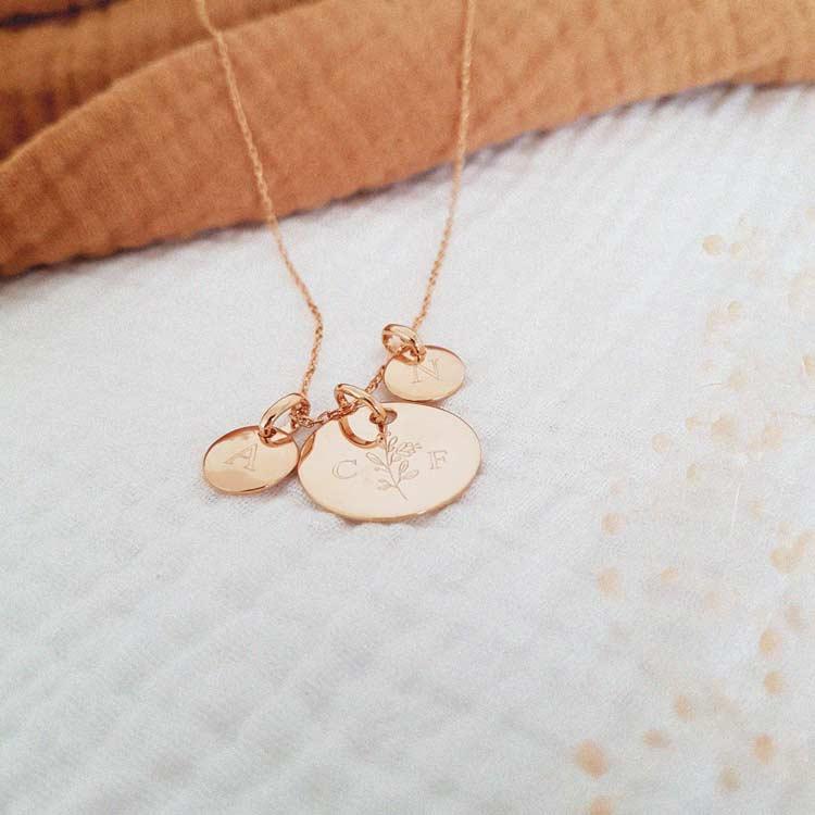 Médaille initiales 2 petits médaillons