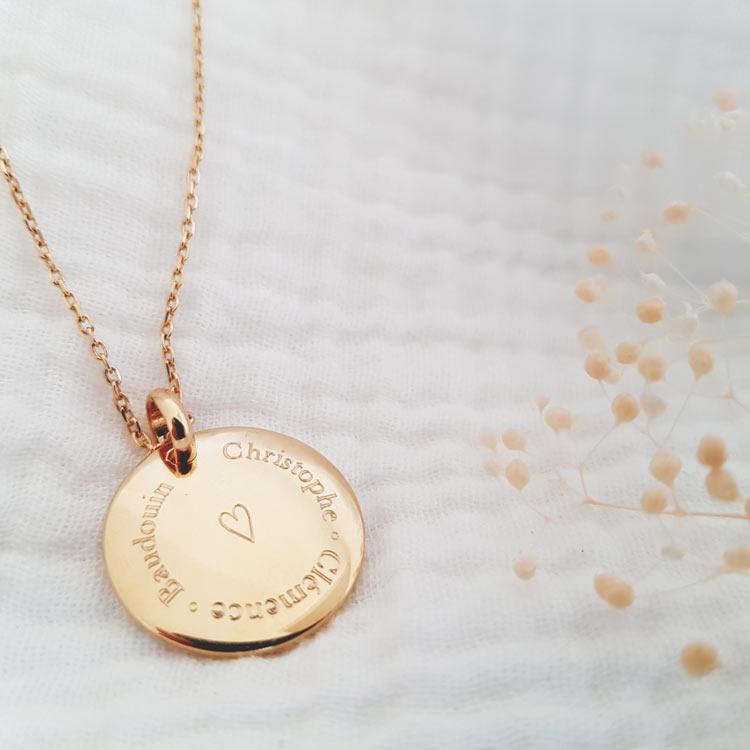 Médaille coeur 3 prénoms