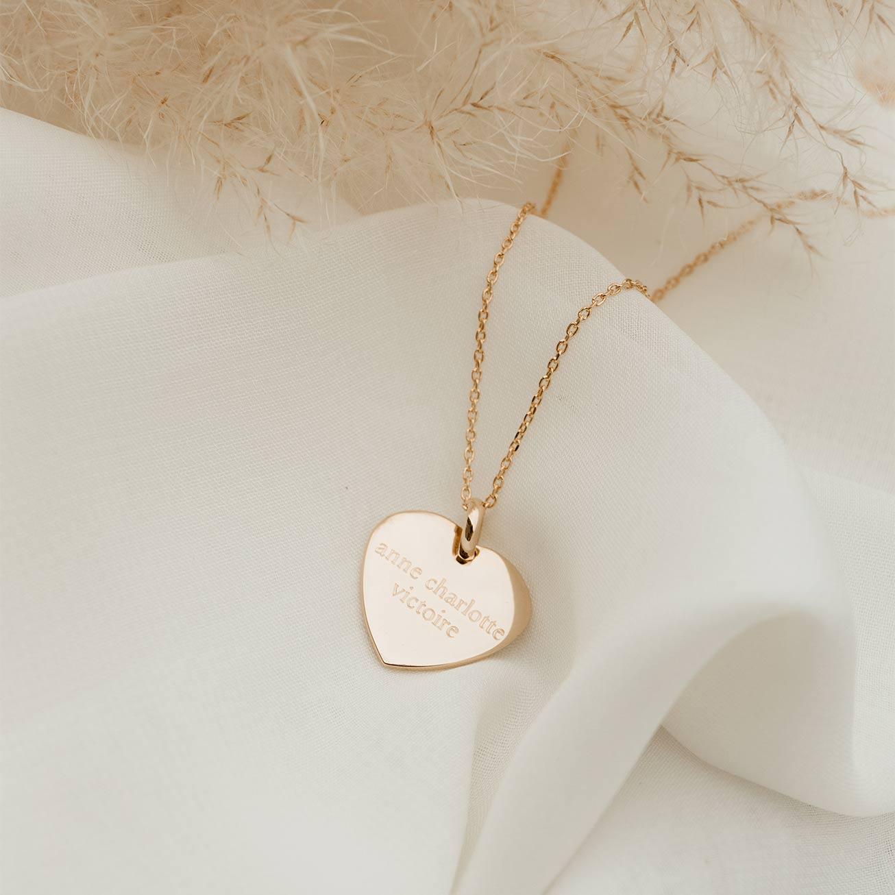 Médaille coeur plaqué or prénoms