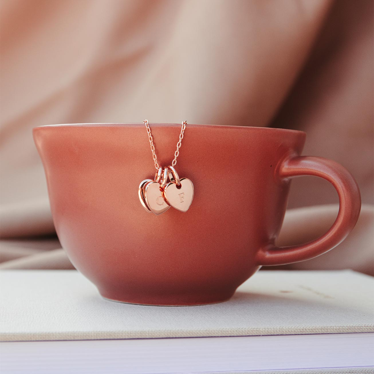 Collier 3 petits coeur or rose