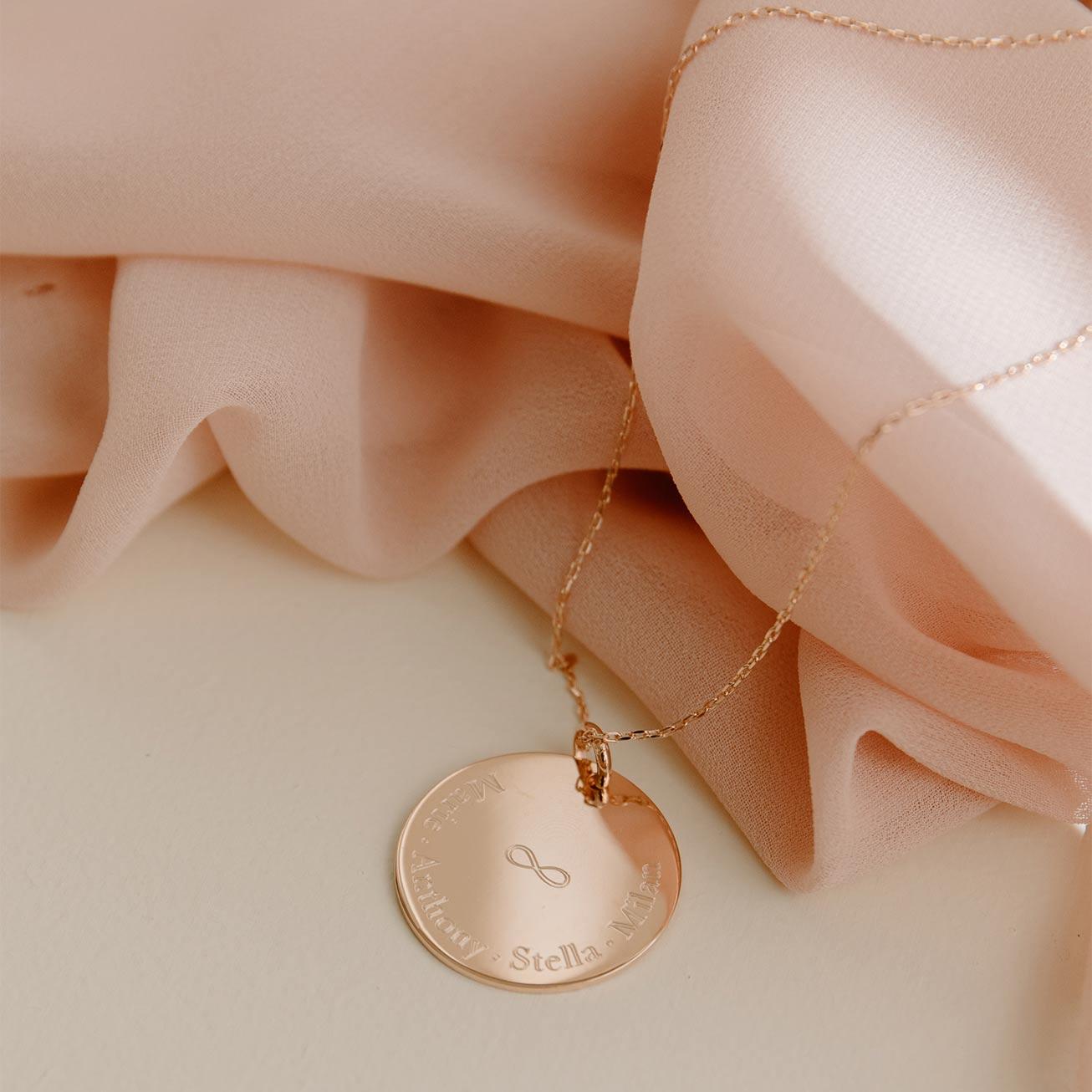 Grande médaille infini plaqué or rose