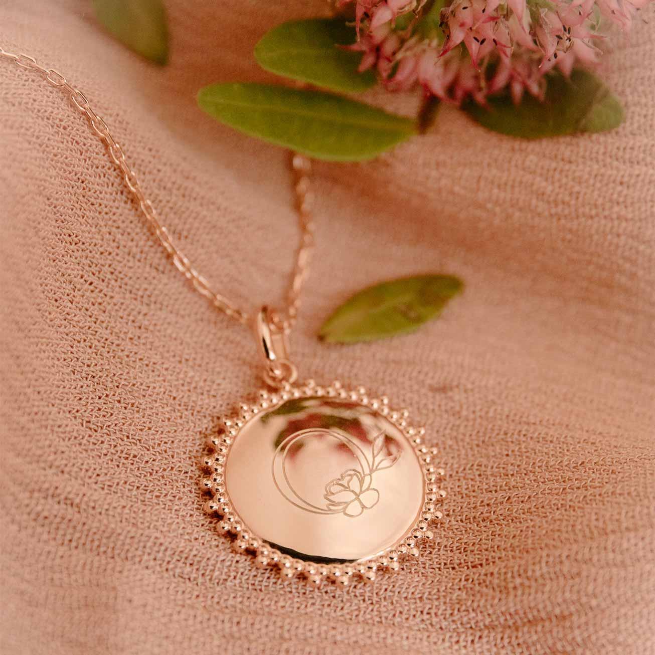 Collier soleil plaqué or rose